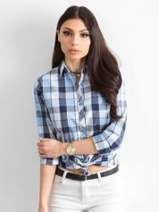 Niebieska koszula damska w kratę