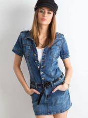 Niebieska rozpinana sukienka jeansowa
