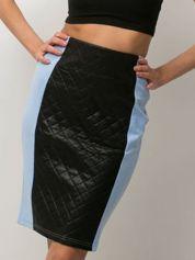 Niebieska spódnica z pikowaną wstawką