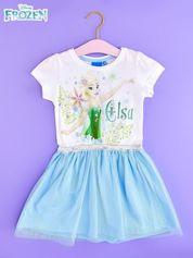 Niebieska sukienka dla dziewczynki z brokatowym paskiem FROZEN