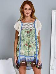 Butik Niebieska sukienka z rękawkami typu motylek