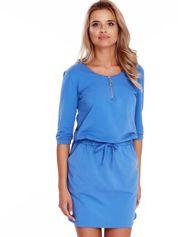 Niebieska sukienka z suwakiem