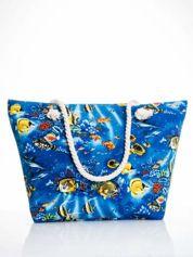 Niebieska torba plażowa z nadrukiem rafy koralowej