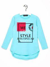 Niebieska tunika dla dziewczynki z nadrukiem