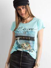 Niebieski bawełniany t-shirt damski