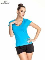 Niebieski damski t-shirt sportowy z dekoltem U