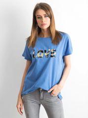 Niebieski luźny t-shirt Lovers