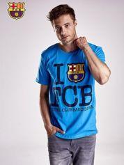Niebieski t-shirt męski FC BARCELONA