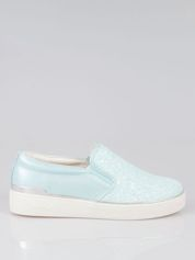 Niebieskie buty sliponki glitter