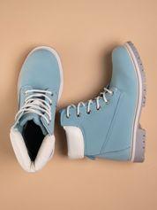 Niebieskie buty trekkingowe damskie traperki