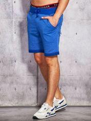 Niebieskie dresowe szorty męskie z troczkami