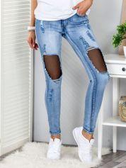 Niebieskie jeansy z siatkowymi wstawkami