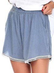 Niebieskie szorty w drobne geometryczne desenie