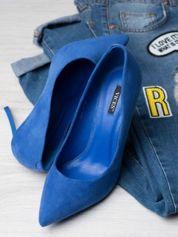 Niebieskie zamszowe szpilki z kwadratowym wysokim obcasem, w szpic faux suede