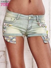 Niebieskozielone szorty jeansowe z muszelkami