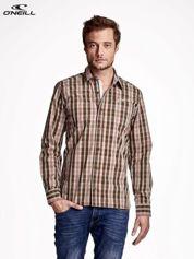 O'NEILL Brązowa koszula męska w drobną kratkę
