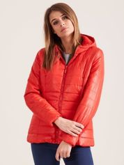 Pomarańczowa pikowana kurtka z kapturem