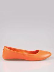 Pomarańczowe gładkie balerinki ze skóry ekologicznej