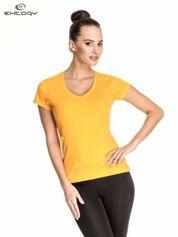Pomarańczowy damski t-shirt sportowy z dekoltem V PLUS SIZE
