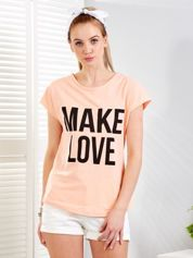 Pomarańczowy t-shirt MAKE LOVE
