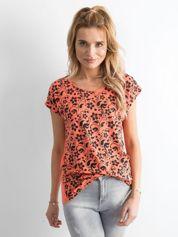 Pomarańczowy t-shirt z kwiatowym nadrukiem