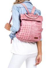 Pudroworóżowy plecak damski z eko skóry z plecionką i ażurowaniem