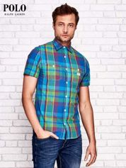 RALPH LAUREN Niebieska koszula męska w kolorową kratę