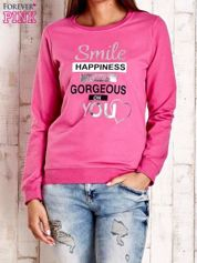 Różowa bluza z napisem SMILE HAPPINESS LOOKS GORGEOUS ON YOU