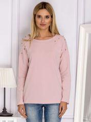 Różowa bluzka z kolorowymi perełkami