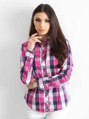 Różowa koszula damska w kratę