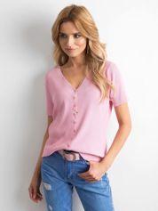 Różowa prążkowana bluzka