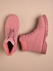 Różowe jednolite buty trekkingowe damskie traperki ocieplane