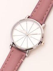 Różowy ciemnopastelowy zegarek damski z cyrkoniami na tarczy