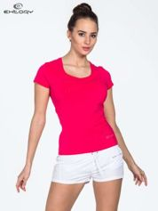 Różowy damski t-shirt sportowy z dżetami