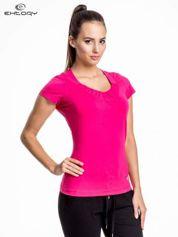 Rózowy damski t-shirt sportowy z marszczonym dekoltem