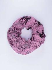 Różowy orientalny szal we wzór ze słoni