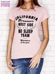 Różowy t-shirt  z napisem CALIFORNIA DREAMERS