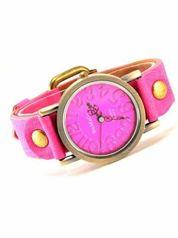 Różowy zegarek damski na pasku z tarczą z miedzianego złota