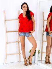 SCANDEZZA Czerwona bluzka z ażurowaniem