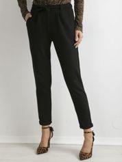 Spodnie damskie z wiązaniem czarne