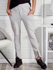 Spodnie dresowe z suwakami jasnoszare