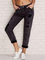 Spodnie jeansowe boyfriend z przetarciami ciemnoszare
