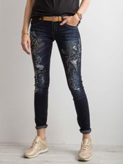 Spodnie jeansowe z aplikacją niebieskie