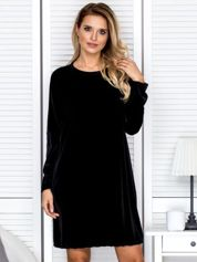 Sukienka damska welurowa oversize czarna