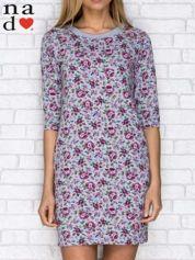 Sukienka dresowa w kwiatki z kieszeniami szara