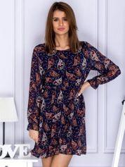 Sukienka granatowa w roślinny deseń