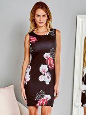 Sukienka koktajlowa ołówkowa w kwiaty czarna