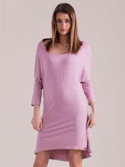 Sukienka oversize z obniżoną linią ramion liliowa