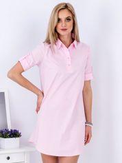 Sukienka różowa z kołnierzykiem