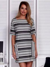 Sukienka w paski z dużymi rękawami biało-czarna